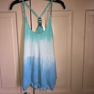 BNWT Ocean Drive tank top/leather braided straps